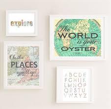 printable gallery nursery wall art set map world travel