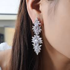 clip on dangle earrings aliexpress buy newbark silver color zirconia clip