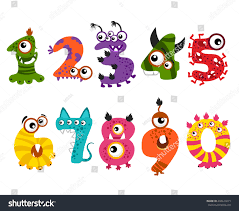 Cute Halloween Monsters by Funny Cute Monster Numbers Halloween Party Stock Vector 488614273