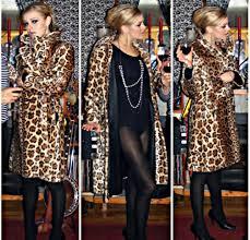 edie sedgwick earrings renee vintage faux fur leopard print coat american