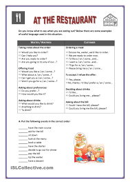 Esl Vocabulary Worksheets Ordering Expressions At The Restaurant Vocabulary Pinterest