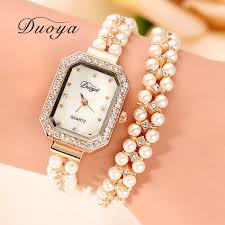 ladies pearl bracelet watches images Duoya brand women bracelet watch women gold pearl jewelry steel jpg