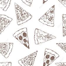 margarita outline hand drawn slices of pizza outline seamless pattern pizzeria