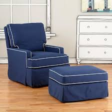 navy blue chair and ottoman nursery gliders blue and white trim mod nod swivel glider chair and