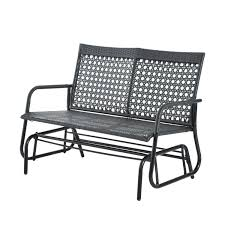 Mayfield Patio Furniture by Outsunny 2 Seater Wicker Glider Bench Chair Outdoor Patio Armchair