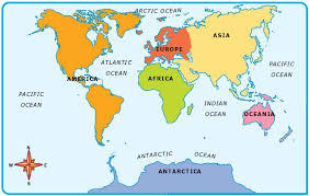 map with oceans 7 continents of the and the 5 oceans list