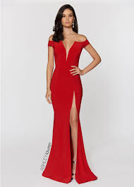 off the shoulder jersey prom dress