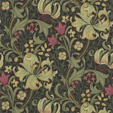 William Morris Wallpaper by William Morris Golden Lily Charcoal Olive Dining Room