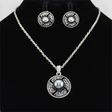 silver vintage necklace images Vogue charm antique silver pearl pendant jewelry necklace set jpg