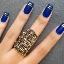 55 gorgeous metallic nail art designs gold stripes royal blue