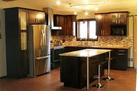 small kitchen with maple espresso cabinet and mosaic glass tile