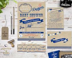 vintage dodgers baseball baby shower bundle invitation