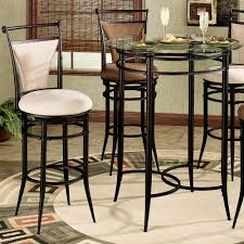 Tall Home Decor 4 Person Black Polished Legs Bistro Table Using Round Glass Top