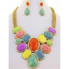 multi color necklace images Multi color gem necklace set jpg