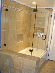 corner shower next to tub