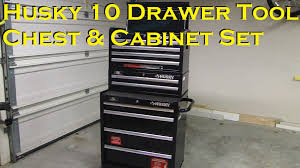Rolling Tool Cabinet Sale Husky 10 Drawer Roller Tool Chest U0026 Cabinet Set Youtube