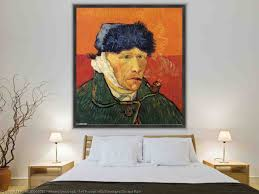 self portrait with bandaged ear and pipe by vincent van gogh