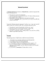 Binomial Probabilities Table Binomial Experiment Revised Probability Distribution Variance