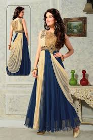 Evening Gowns Shop Beautiful Party Gowns Online Usa Cream U0026 Blue Evening Gown