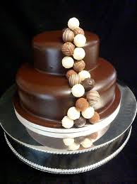 two tier truffles wedding cakes