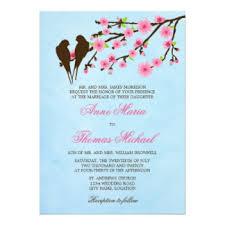 Love Bird Wedding Invitations Cherry Blossom And Love Birds Invitations U0026 Announcements Zazzle