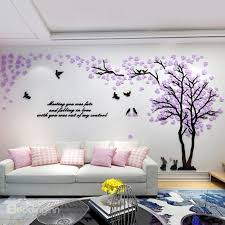 3d wall trees and birds pattern acrylic eco friendly waterproof self