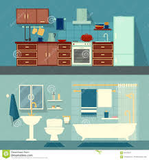 free home interior design vector flat illustration for rooms of apartment house home