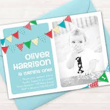 boy first birthday invitation bunting banner photo printable