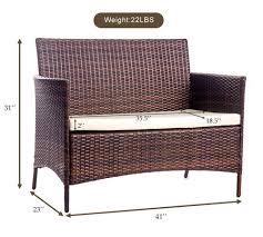 Patio Furniture Dimensions Merax 4 Pc Wicker Rattan Patio Furniture Set U2013 Lawngardenscape