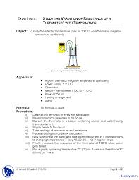 thermistor experiment physics lab mannual docsity