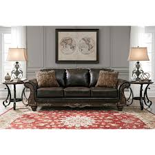 wood trim sofa traditional faux leather sofa with wood trim u0026 rolled arms by