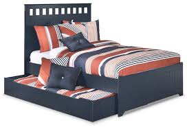 Blue Twin Bed by Leo Full Panel Bed With Trundle The Brick