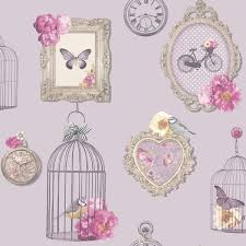 arthouse madeline frames shabby chic wallpaper bird cage vintage