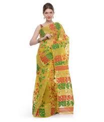 dhakai jamdani saree buy online samayra yellow green and muslin cotton dhakai jamdani saree