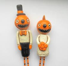 pumpkin heads in love halloween wedding cake topper 2632236