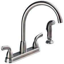 How To Repair Leaky Kitchen Faucet by P99578lf Ss D Two Handle High Arc Kitchen Faucet With Spray