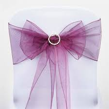 chair sashes for weddings 5 pcs wholesale eggplant sheer organza chair sashes tie bows