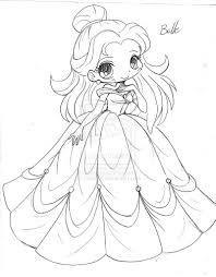 belle beauty and the beast chibi sketch by yampuff on