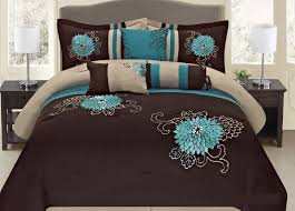 Aqua Bedspread Fancy Collection 7 Pc Embroidery Bedding Brown Turquoise Comforter