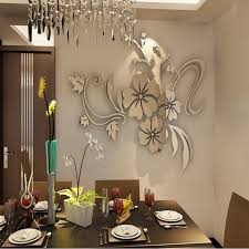 compare prices on mirror vinyl online shopping buy low price fashion new wall stickers gold silver acrylic 3d mirror flower home decor vinyl stickers for children