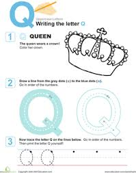 q is for queen practice writing the letter q worksheet