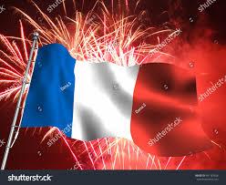 French Flag Background 3d Illustration French Flag Massive Fireworks Stock Illustration