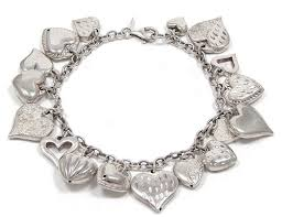 silver bracelet with heart charm images Vintage sterling silver hearts charm bracelet jpg