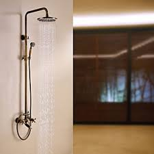 Quality Faucets By Faucetol Antique Brass Tub Shower Faucet With 8 Inch Shower