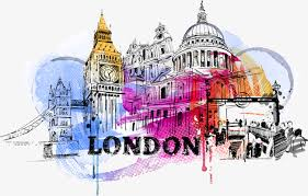 drawing london city building decoration vector watercolor png