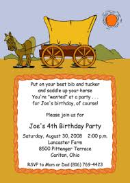 covered wagon cowboy theme birthday party invitation