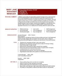 Restaurant Assistant Manager Resume 36 Manager Resumes In Word