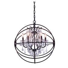 Orb Light Fixture by Elegant Lighting Geneva 6 Light Dark Bronze Chandelier With Clear