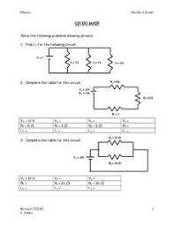 physics classroom answer key series circuits 28 images mr