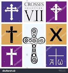 different types of purple set different types crosses on purple stock vector 612324041